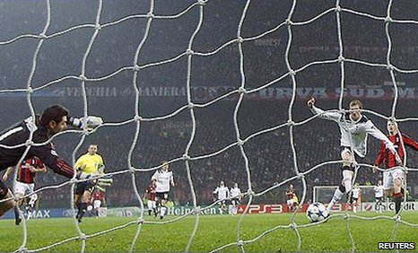 Tottenham striker Peter Crouch scores the winner against AC Milan at the San Siro