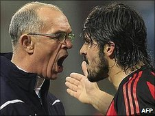 Joe Jordan (left) is confronted by Gennaro Gattuso