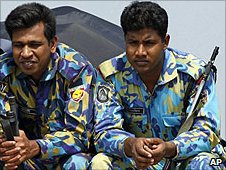 Security guards at the match in Fatullah