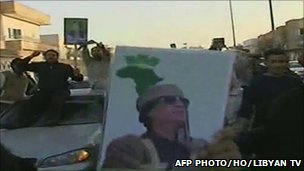 Pro-Gaddafi demonstrators in Benghazi. Photo: 16 February 2011