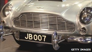 Aston Martin with number plate JB007