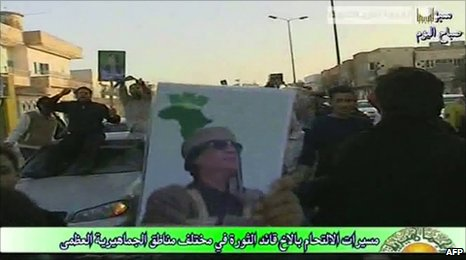 Pro-government protest in Benghazi (16 February 2011)