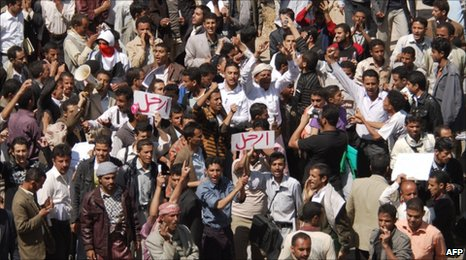 Anti-government demonstrators in Sanaa (16 February 2011)