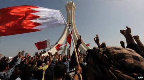 Protesters in Pearl Square, Bahrain (16 February 2011)
