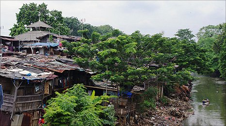 Houses in the shanty town of Bukit Duri, Indonesia