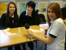 Pupils at Rydens School in Surrey work on interviewing each other