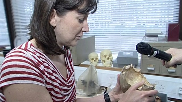 Dr Silvia Bello with one of the skull cups