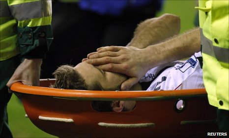 Bolton's Sam Ricketts is stretchered off