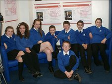 Accrington Academy's School Reporters pose for the camera