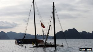 The sunken boat in Halong Bay