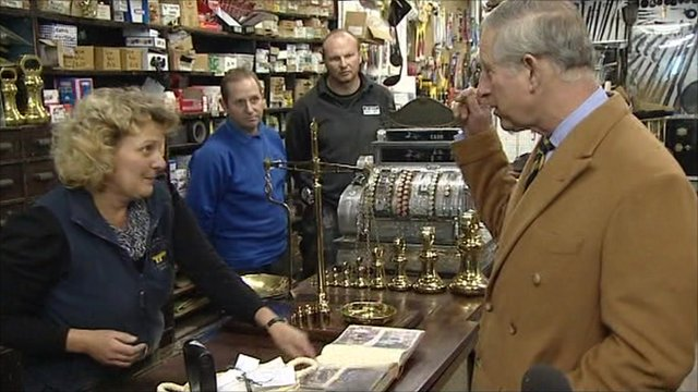 Prince Charles in ironmongers