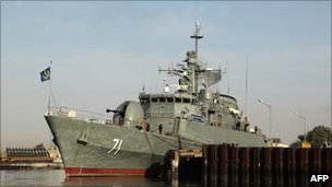 Iranian warship Alvand in the Gulf, file image