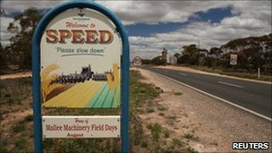 A welcome sign to the town of Speed, 400 km (250 miles) northwest of Melbourne