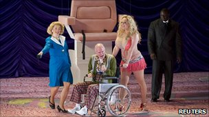 Eva-Maria Westbroek (second right) and Alan Oke (centre) perform as Anna Nicole Smith and J Howard Marshall