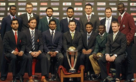 The 14 captains with the Cricket World Cup