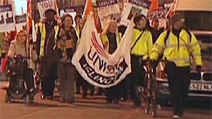 Protesters marched along Islington's Upper Street
