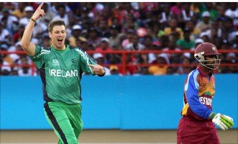 Boyd Rankin celebrates after taking a West Indian wicket in the 2010 World Twenty20