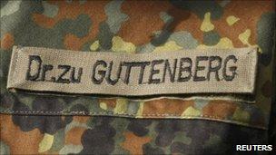 Label on German Defence Minister Karl-Theodor zu Guttenberg's military fatigues