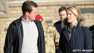 German Defence Minister Karl-Theodor zu Guttenberg with wife Stephanie in Afghanistan (13 Dec 2010)