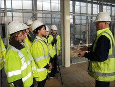 School Reporters at Hounsdown Secondary School at Testwood Water Supply in Southampton