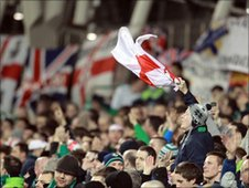 Northern ireland fans at the game against Scotland in Dublin