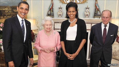 The Obamas with the Queen and Prince Phillip