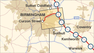 Map showing part of the proposed high-speed rail route
