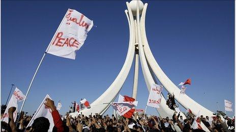 Protesters in Manama, 19 Feb 2011
