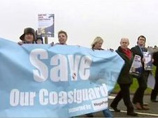 Demonstrators march against the closure of Holyhead coastguard station