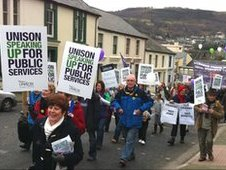 Protesters marched through Pontypridd in opposition to cuts in public services