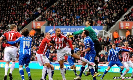 John Carew scores the opener for Stoke