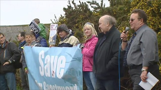 Demonstrators against the closure of Holyhead coastguard station