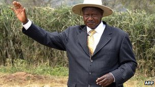 Yoweri Museveni arrives to cast his vote in Kiruhura, Uganda, 18 February