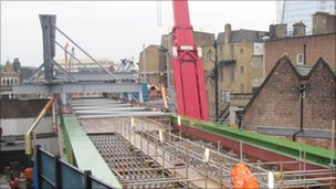 New Borough Market viaduct and Borough High Street bridge under construction