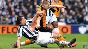 Action from West Brom v Wolves