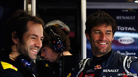 Mark Webber (right) and his Red Bull race engineer Ciaran Pilbeam