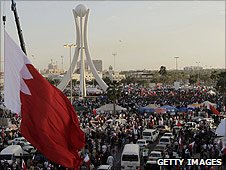Protestors camp in Peal Square in the Bahraini capital Manama as authorities seek talks to end the unrest in the Gulf state