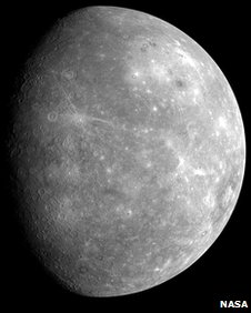 A photo of Mercury, taken by the Messenger spacecraft