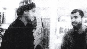 MI5 surveillance image of Shezhad Tanweer and Mohammad Sidique Khan at Toddington Services, February 2nd 2004