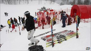Skiers prepare their equipment for Europa Cup races at the newly built Rosa Khutor ski resort in Krasnaya Polyana, southern Russia, 17 Feb 2011