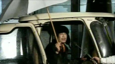 Libyan leader Muammar Gaddafi on state TV (21 Feb 2011)