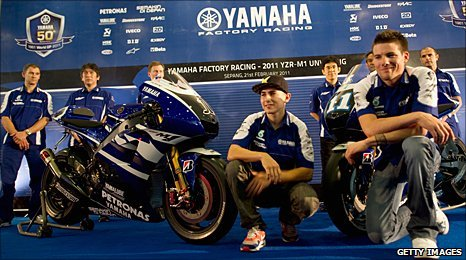 Jorge Lorenzo and Ben Spies pose with the new bike