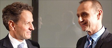 Evan Davis and Timothy Geithner