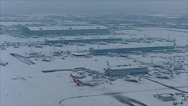 Snow covered airport