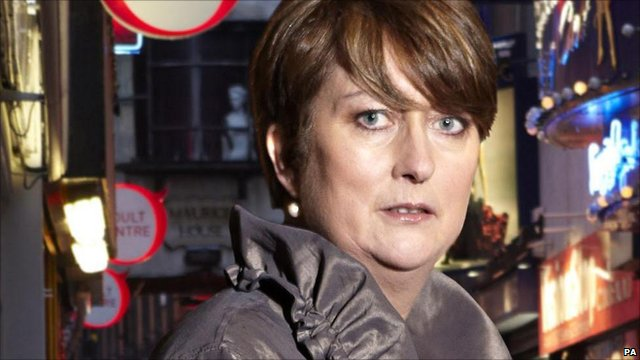 Jacqui Smith poses in Soho, London, to advertise her BBC documentary