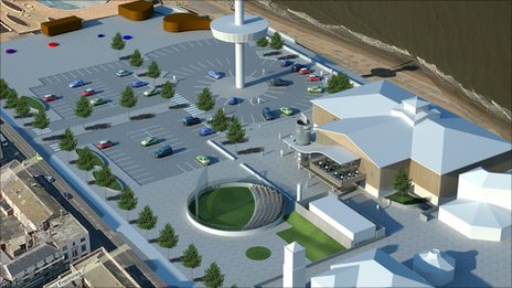 Artist impression of area around Apollo Cinema, Rhyl
