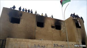 Protesters on top of building in Tobruk - photo 20 February