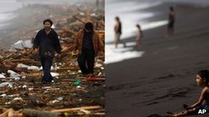 Men walk through debris on the beach at Pelluhue in the wake of the quake on 27 February 2010 (left); a child sits on the same beach on 25 January 2011 (right)