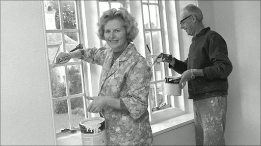 Margaret and Dennis Thatcher decorating their Kent flat