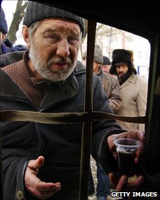 Homeless people queue in the Ukrainian city of Odessa